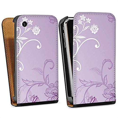 Apple iPhone 5 Housse Étui Silicone Coque Protection Vrilles Fleurs Fleurs Sac Downflip noir