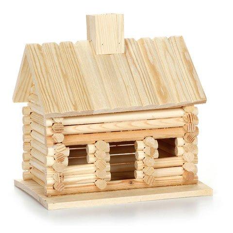 4Holz Log Cabin unlackiert Vogelhäuser bereit zum Dekorieren Vogelhaus