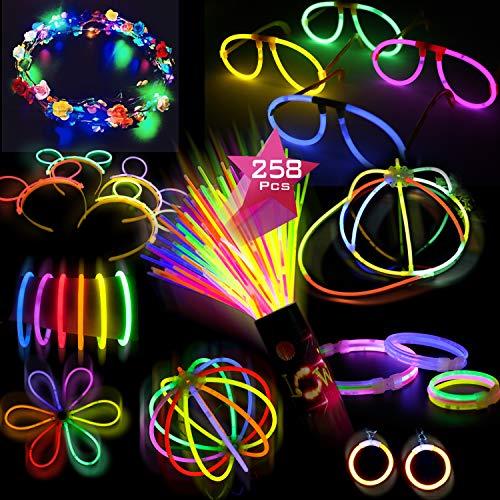 Doubleme Set de 100 Barras Luminosas para Fiestas - 20 cm, 10 Colores - LED Guirlanda, Kits para Crear...