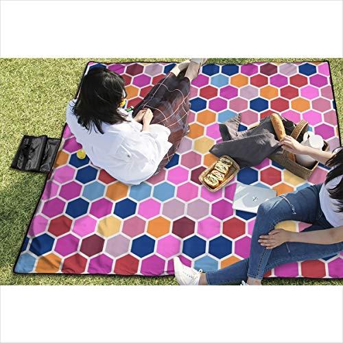 BigHappyShop Picnic Blanket Geometric Hexie Hexagon Candy Pink Orange Red Blue Spots Dots s Waterproof Extra Large Outdoor Mat Camping Or Travel Easy Carry Compact Tote Bag 59