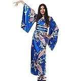 Japanischer Geisha Kimono Kujaku Blau Satin One Size