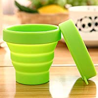 Ouken Tazas de Camping Plegables de Categoría alimenticia BPA de la Taza de Silicona Plegable de la Taza, Verde (Verde)