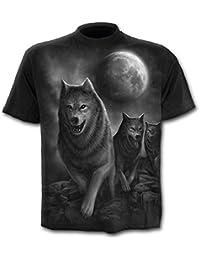 Wolfpack, fantasía gótico camiseta negro lobos metálicos de los hombres - L - Espiral