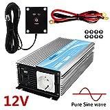 Giandel Pure Sine Wave Power Wechselrichter 1000W DC 12V auf AC 230V 240V mit Fernbedienung mit Dual-AC-Ausgängen & 1a USB-Anschluss für Wohnmobil-LKW