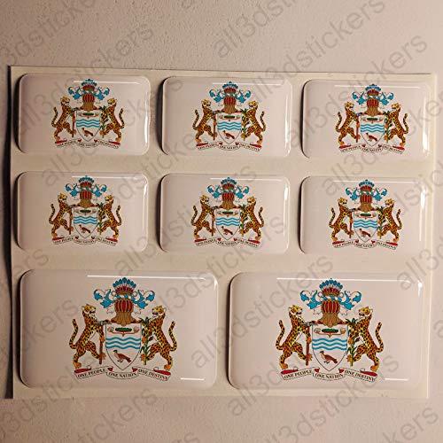 ber Guyana Wappen 8 x Wappen von Guyana Rechteckig 3D Kfz-Aufkleber Gedomt Flaggen Fahne ()