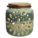 Laterne / Windlicht aus Keramik petrol - grün 18cm