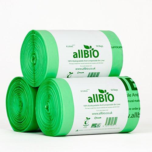 150 x 6 Liter allBIO-Tüten 6 Liter 100% Biologisch Abbaubare & Kompostierbare Tüten für den Küchenmülleimer