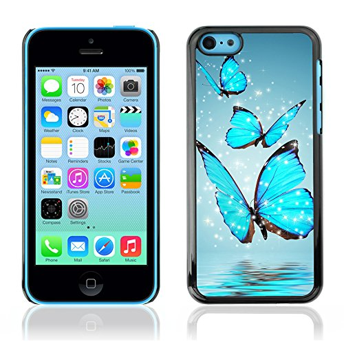 Graphic4You Blue Butterfly And Flowers Design Harte Hülle Case Tasche Schutzhülle für Apple iPhone 5C Design #8