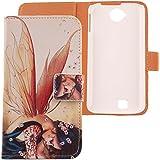 Lankashi PU Flip Funda De Carcasa Cuero Case Cover Piel Para BQ AQUARIS 5.0 / FNAC PHABLET 5.0 Wings Girl Design