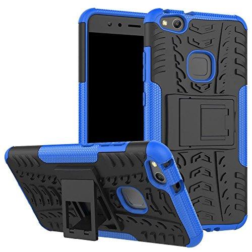 UKDANDANWEI Huawei P10 Lite Tough Dual Layer 2 in 1 Schroffe Gummi Hybrid Hard/Soft Tropfen Stoßfestes Schutzhülle [mit Ständer] Entwickelt für Huawei P10 Lite - Blau