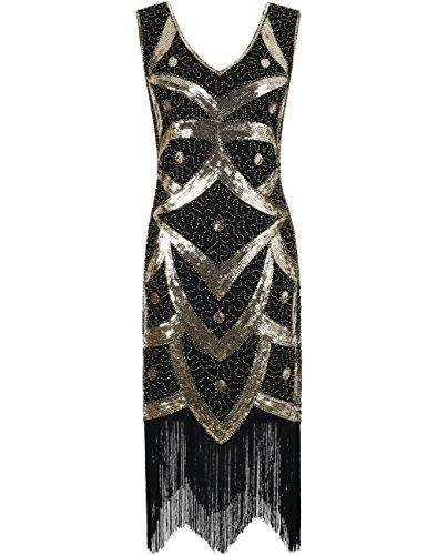 Kayamiya Damen 1920er Great Gatsby Pailletten Perlen Inspiriert Franse Flapper Kleid L Gold