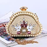 Olprkgdg Ladies Evening Borse e frizioni Rhinestone di Cristallo con Cinturino a Catena (Color : Golden)