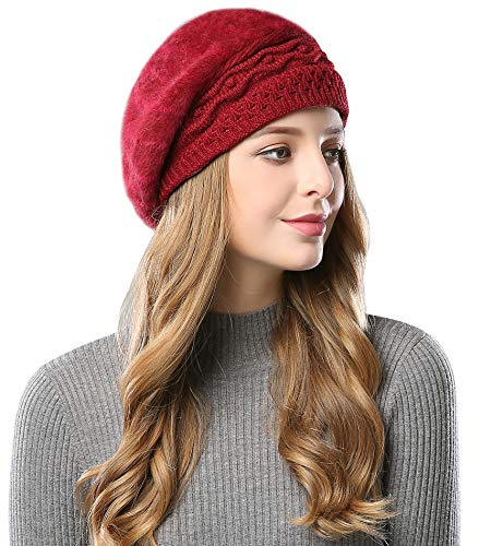 Superora Women s Hat Beret Beanie Fleece Vintage Warm Cap Knitted Crochet  Fluffy Burgandy 1e88e9c77953