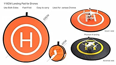 PGY-Tech Drone Accessories - 110 CM Diameter Folding Drone Landing Pad / Launch Pad with Case. Great for DJI phantom 2 3 4 inspire 1 or RC Helicopters