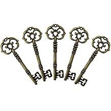 PsmGoods® Antique Vintage Arco Claves Esqueleto viejo estilo mirar Bronce Charm Colgantes Paquete de accesorios 5