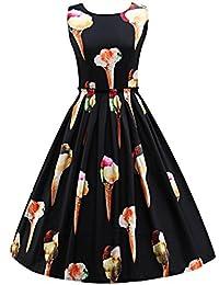 KaloryWee Kleider Sommer groß Frauen ärmellos Rund Hals Geräten Creme Retro  Print Kleid, Schwarz, 29051df318