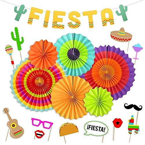 LUCK COLLECTION Fiesta Party Supplies Fiesta Photo Booth Props Hängen Papier Fans Kaktus Banner für Cinco De Mayo Mexikanischen Luau Party Dekorationen