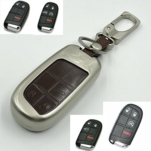 Hohe Qualität Schlüsselanhänger Zink Legierung Metall Mit Echt Braun Leder Schlüssel 3 Tasten Abdeckung Fur Jeep Compass Renegade Grand Cherokee Wrangler 4x4 SUV und Undere Modelle