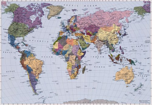 Poster murale gigantografia stampa digitale in alta risoluzione Komar su carta - World Map - mis. 270x188 cm - cod. 4-050