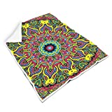Rcerirt Mandala Flower Beautiful Bright Colors Bed Blankets for Chair Feel Delicate for BabyElegant Style White 50x60 inch