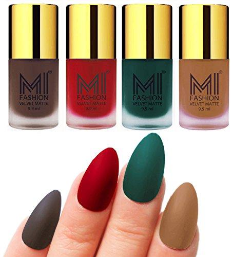 Mi Fashion Velvet Dull Matte Nail Polish, Coffee, Tomato Red, Dark Green, Dark Nude, 39.6ml (4 Pieces)