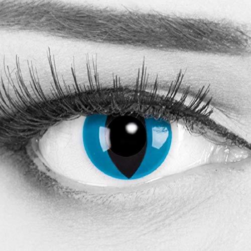 Meralens blaue Kontaktlinsen, Mystic Cat mit Pflegemittel ohne Stärke, 1er Pack (1 x 2 Stück)