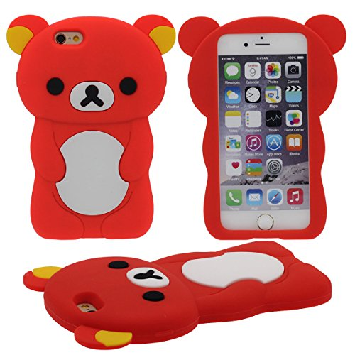 Apple iPhone 7 4.7 inch Coque Case, 3D Charmant Ours Forme Série Silicone Gel [ Surface Lisse ] Super Doux Élastique Cartoon Animal Style Housse de Protection ( Marron ) rouge
