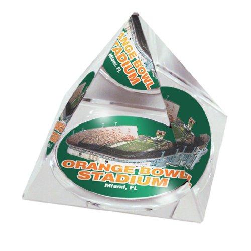 Paragon Bone China (NCAA Miami University Hurricanes Schale in 5 cm Kristallpyramide mit Farbiger Geschenkbox mit Sichtfenster)