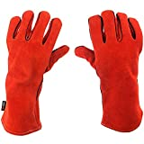 NoCry Heavy Duty Heat Resistant & Flame Retardant Welding & BBQ Gloves, Premium Cowhide Leather, Long 14 inch Forearm Protection. Red, Size Large
