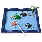 FCZH Mini Sandbox per scrivania, Spiaggia e Giardino Zen, Kit da Gioco per Giocattoli di Sabbia per Bambini, Ufficio, Confezione Regalo con Sabbia Naturale, Vassoio in Legno, Rocce e Accessori,b