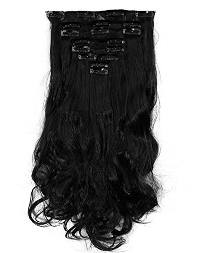S-noilite® set 8pcs 43cm extension capelli clip nelle estensioni dei capelli della parte dei capelli ondulato o liscio pieno testa vari colori nero scuro