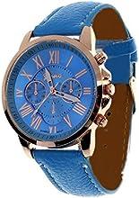 WINWINTOM Ginebra números romanos de imitación reloj de cuero Azul