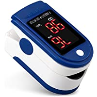Oximeters Finger, Fingertip Pulse Oximeter SpO2 Sensor Blood Oxygen Saturation Heart Rate Monitor Meter Recording Digital LED Auto Shutdown Alarm Fast Read One Button Operate for Health Care (Blue)