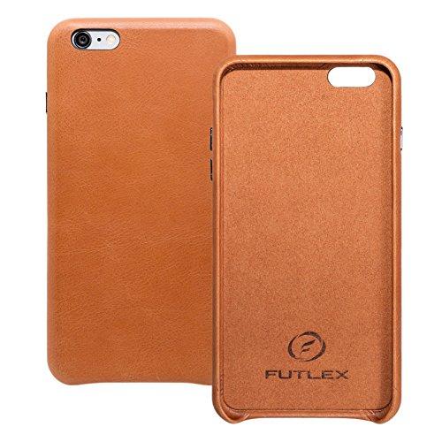 iPhone 6 Plus / 6S Plus Backcover-Case, FUTLEX Heritage Stil Case aus echtem Leder - Grüne - Ultra Slim - Präziser Zuschnitt und Design - Handgefertigt Braun