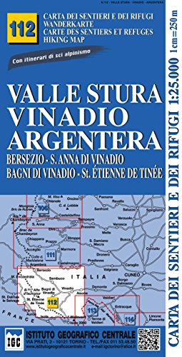 Carta n. 112 Valle Stura, Vinadio, Argentera 1:25.000