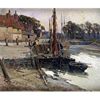HeritageArtDecor A Cornish Fishing Village - Fine Art Print on Fine Art Canvas - Print ON Canvas ONLY -NO Frame - Image Size is 31 x 25 Inch Wall Painting