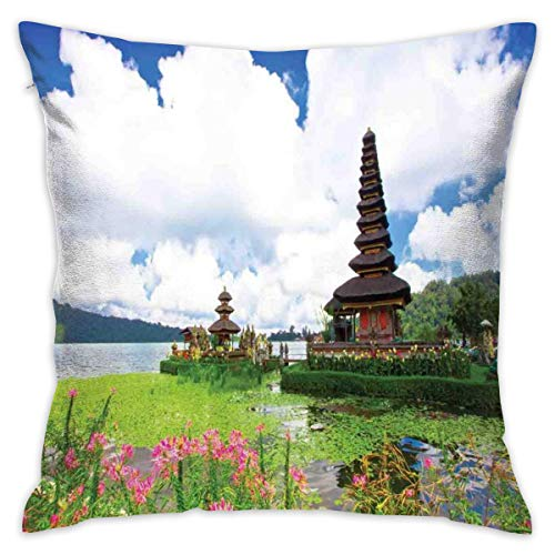 OPoplizg Balinese Throw Pillow Cushion Cover, Pura Ulun Danu Building Bali Tropic Flowers Water Plants Tower In Sea Scenery,Decorative Square Accent Pillow Case,18 X 18 Inches,Green Pink Blue_2