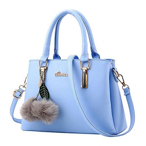 Beikoard borsa a tracolla per borsa a tracolla modello a balze con motivo lichee a palla da donna(cielo blu)