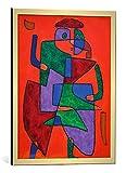 kunst für alle Bild mit Bilder-Rahmen: Paul Klee Der Künftige - dekorativer Kunstdruck, hochwertig gerahmt, 40x50 cm, Gold gebürstet