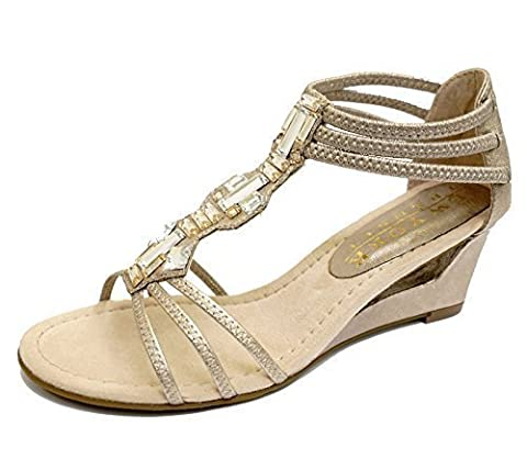Ladies Gold Wedges Gladiator Comfy Elastice Open-Toe Strappy Sandals Shoes Sizes 4-8