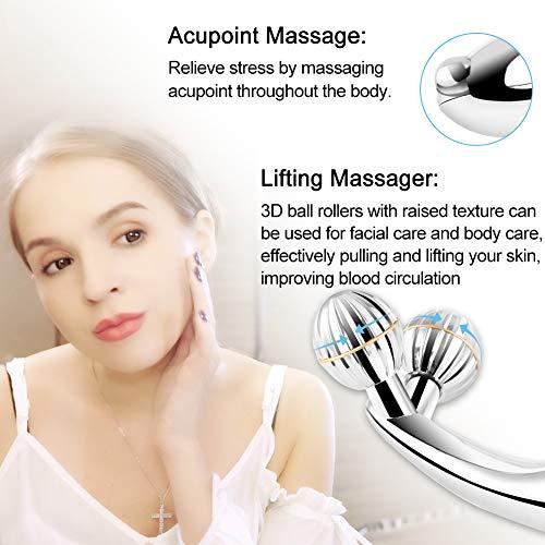 SUNMAY 3D Gesicht Roller Massage Gesichtslifting Massager - Gesichtsroller mit Mikrostrom für Gesichtsmassage, Hautstraffung, Doppelkinn Entfernen - Massagegerät Massageroller für Gesicht, Körper - 4