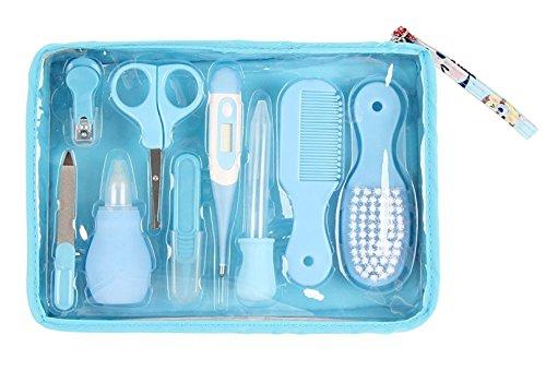 Wegeit 9tlg Babypflege Set für 0 bis 3 Jahre Baby, mit digitalem Fieberthermometer, Nasensauger (Blau)