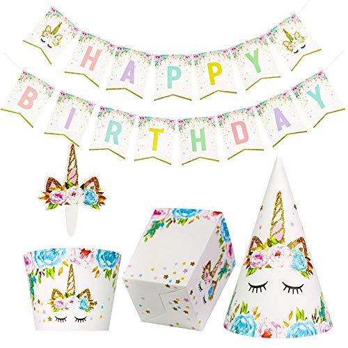 Dusenly 37 Stück Regenbogen Einhorn Happy Birthday Banner Popcorn Boxen Einhorn Cupcake Topper und Wrapper Einhorn Hut Set für Baby Shower Birthday Party Dekorationen