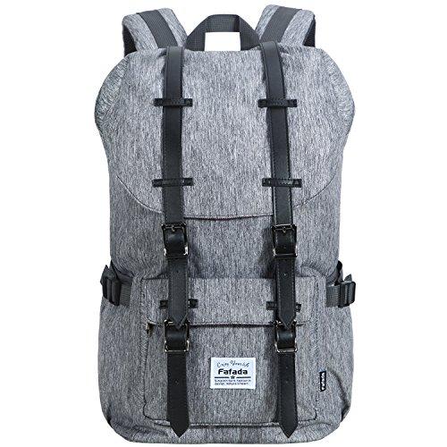 Fafada Laptoprucksack 15 Zoll Rucksack Männer Frauen Rucksack Retro Wasserabweisend Nylon Daypack Canvas Schulrucksack Backpack (23L Nylon Hellgrau) (Frauen Rucksack Canvas)