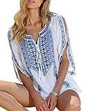 L-Peach Donna Stampato Floreale Tunica Mini Abito da Spiaggia Parei Copricostume Bikini Cover Up Beachwear