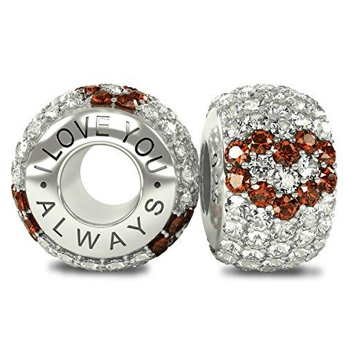 """Die Kollektion Royal-I Love You Always """", aus Sterling-Silber 925 CZ-Kristalle, Pavé-Fassung Charm-Anhänger für Pandora-Armband und ähnliche 3 mm-Armbänder"""