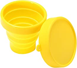 Imported 170ml Silicone Foldable Collapsible Cup with Lid for Camping Travel Yellow