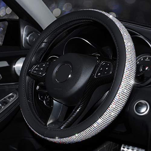 Pahajim Lenkradhülle Lenkrad Abdeckung Heavy Duty PU Leder Stilvolle Kristalldiamanten,Funkelnder Diamant Bling Bling Rutschfeste Auto Lenkradabdeckung(Schwarz-Farbe)