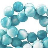 Sadingo Acrylperlen, Kunststoffperlen - Meliert - 100 Stück - 8 mm - Farbe wählbar - Schmuck basteln Wie Armbänder, Farbe:Azore