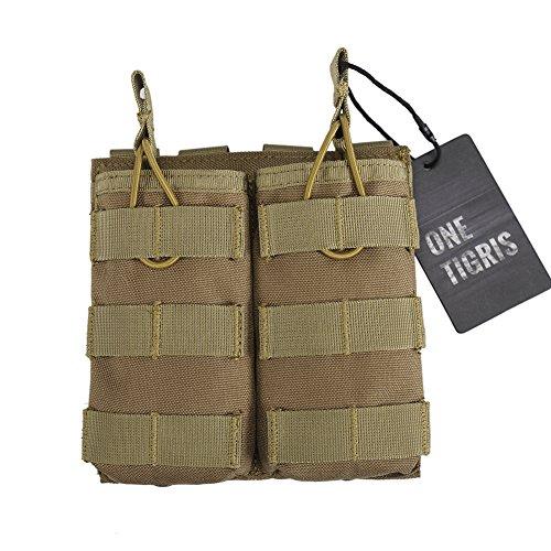 OneTigris Doppelt MOLLE AR Magazintasche Nylon Magazinbeutel für M4/M16 (Khaki) -